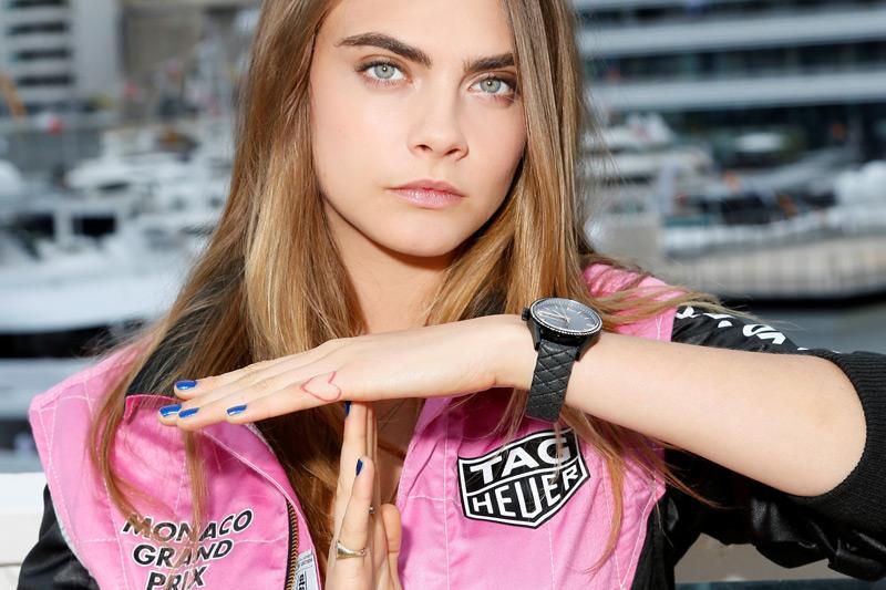 Cara Delevingne Sporting Her UK TAG Heuer Carrera Replica Watches