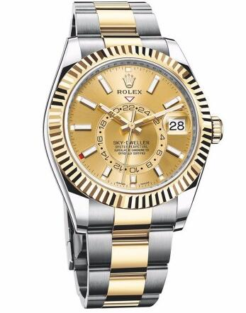Whether for the gold and steel bracele or the gold dial, this yellow gold dial replica Rolex watch all gives us a lot of surprise.