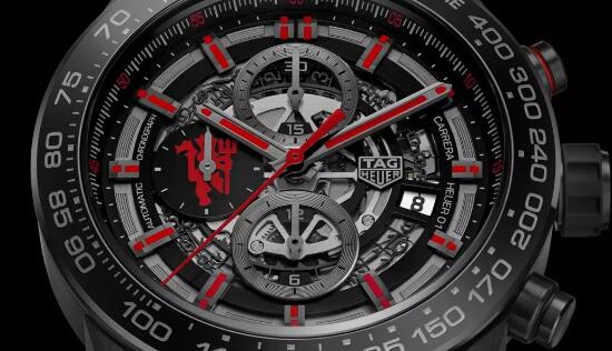 The red elements on the dial add a dynamic touch to the model.
