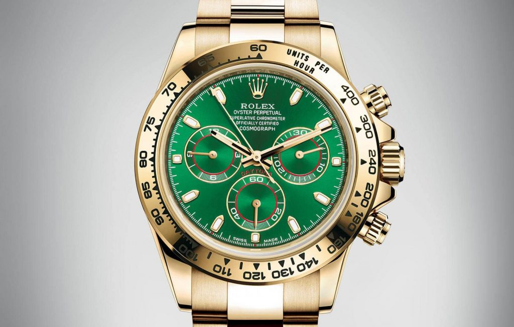 The gold copy watches have green dials.