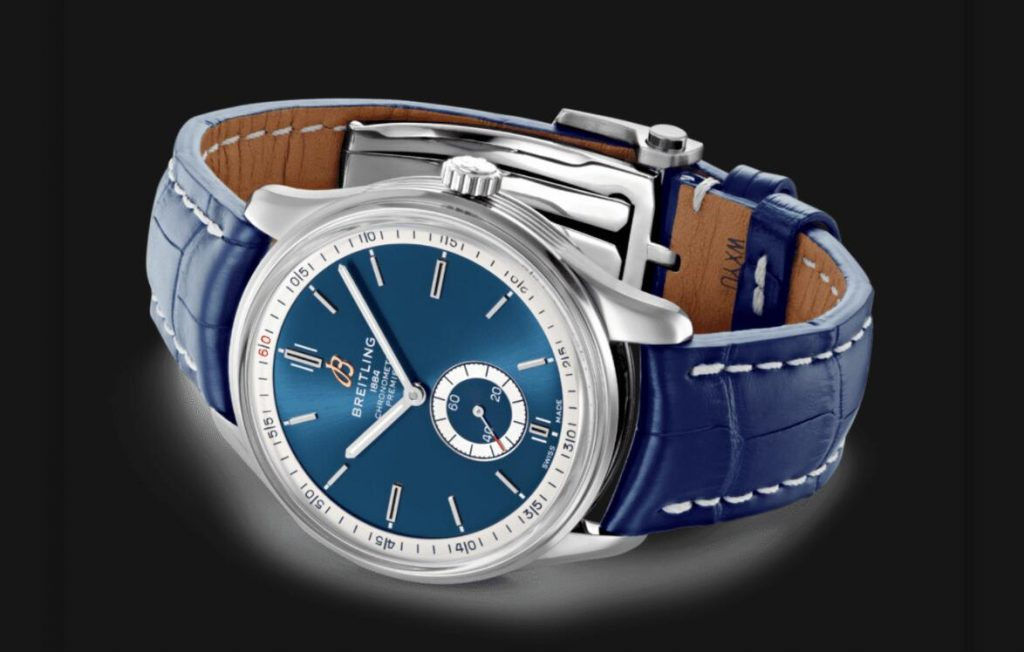The blue dials fake watches have blue leather straps.