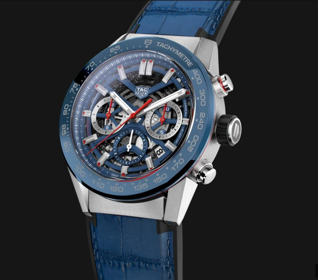 The blue straps copy watches have hollowed dials.